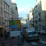The corner up from our hotel, look closely you can see the towers of Notre Dame