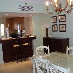 from the dining area towards the kitchen
