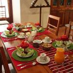 Typical breakfast table setting.  Wonderful!