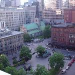 View of the city from the rooftop sundeck