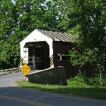 A covered bridge down the road from the farm