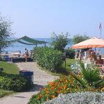 Beach bar and the beach