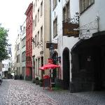 Cobblestone street of Hotel leads straight to Rhine
