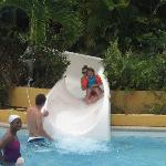 the pool with the slides