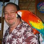 Coconut Willy's owner and his parrot !