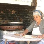 The woman cooking Trukish Pancake