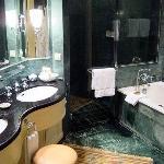 The marble bathroom