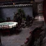 In the courtyard of the Li River Hotel