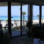 View of beach from inside condo