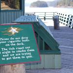 Sign on the dock