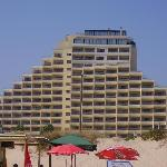 The view of the hotel on the beach.