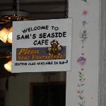 sign inside Sam's Seaside Cafe