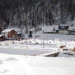 Hotel Waldesruh with the Plattjen lift station to the right, ski school meeting place and...