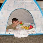 Kiddie tent and my son enjoying it