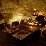Candle light dinner in the wine cave