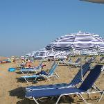 sunbeds and umbrellas at the beach