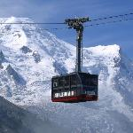 Tram going up to l'Aiguille du Midi in Chamonix, France,