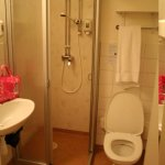 The bathroom is pretty spartan. But clean.