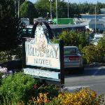 Blue Bay Motel Sign and Harbor View