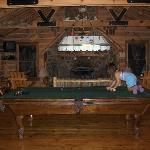 Playing pool at the Lodge