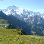 Jungfrau peak from cable car station above Wengen