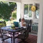 Relaxing on front porch