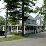 The original restored 19th c. inn is in front, the well-matched 20th c part is in the rear.