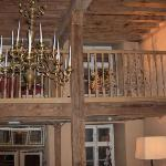 Original beams in reception - and the real candles are lit at night!
