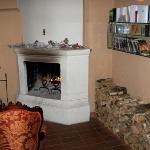 Reception - welcoming open log fire and DVD library