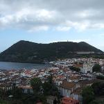 View of Angra from hilltop - A Ilha is near the blue church on the left.