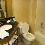 Remodeled bathroom.  Hotel not as bad as other reviews indicate, actually a decent stay.