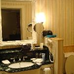 Fantasia suites feature all marble with jacuzzi jet tub and rain shower off camera to the left.