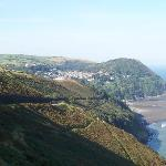 View over Lynmouth Bay from the road to the village