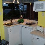 The bright, clean kitchenette