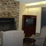 Fireplace with sitting area