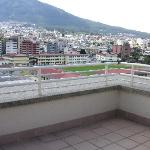 Our private balcony overlooking the volcano and downtown Quito.