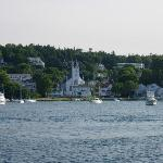 A view of the buildings on Mackinaw Island from the ferry.
