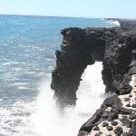 The lava rock arch near on the coast