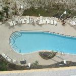 looking from balcony to one of the pools