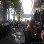 Sidewalk cafes outside of hotel
