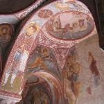 frescos on a ceiling of one of the many chapels in the open air museum in Goreme