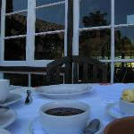 Breakfast in the rear courtyard. You'll love the OJ!