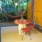 Private patio, Pink Flamingo