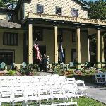 The front of the inn and the chairs for the ceremony