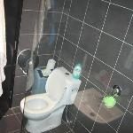 Our cleverly designed bathroom - flimsy glass pane blocks shower entrance and toilet blocks...