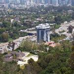 View of hotel (circuilar white building) from Getty Center