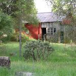 back of barn from meadow walking path