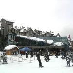The hotel sits right next to the nursery slopes and the Whistler gondola