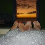 Sunset in the private hot tub
