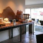 breakfast room... also orange juice, cereals, and milk